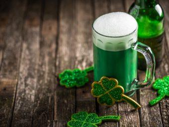 St. Patricks Day green bear and shamrocs
