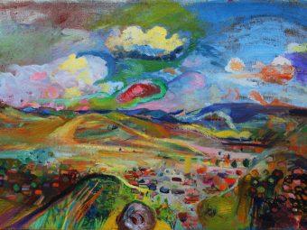 Title: Az rigónak Ő szólása engem vigasztal. Oil, canvas, by Otília Nagy.